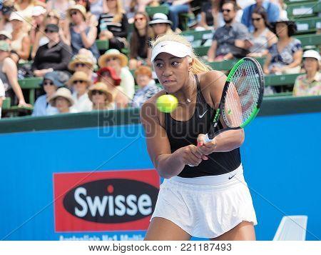 Melbourne, Australia - January 9, 2018: Tennis player Destanee Aiava preparing for the Australian Open at the Kooyong Classic Exhibition tournament