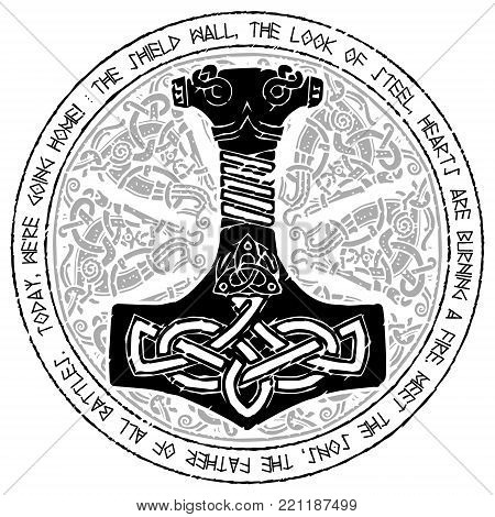 God Thor Hammer - Mjollnir. Round traditional Scandinavian ornament and runic text, isolated on white, vector illustration
