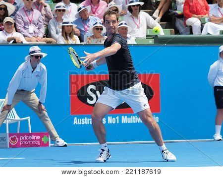 Melbourne, Australia - January 9, 2018: Tennis player Richard Gasket preparing for the Australian Open at the Kooyong Classic Exhibition tournament