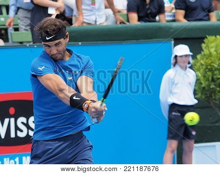 Melbourne, Australia - January 9, 2018: Tennis player Rafael Nadal preparing for the Australian Open at the Kooyong Classic Exhibition tournament