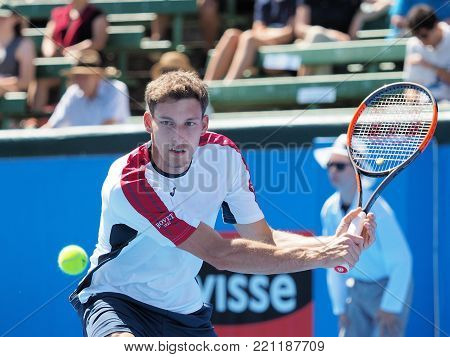 Melbourne, Australia - January 9, 2018: Tennis player Pablo Carreno Busta preparing for the Australian Open at the Kooyong Classic Exhibition tournament
