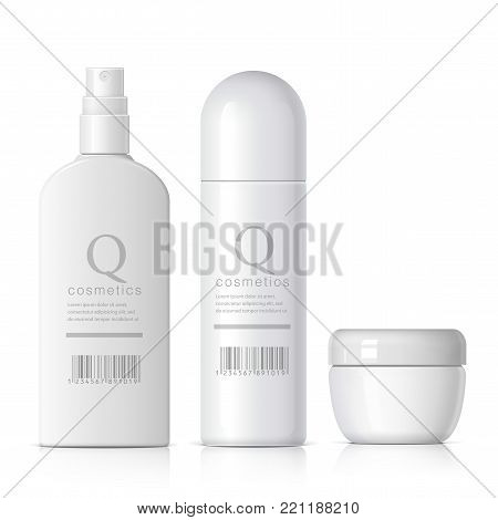 Set of cosmetic products on a white background. Cosmetic package collection for cream, soups, foams, shampoo, glue. Object, shadow, and reflection on separate layers. vector illustration.