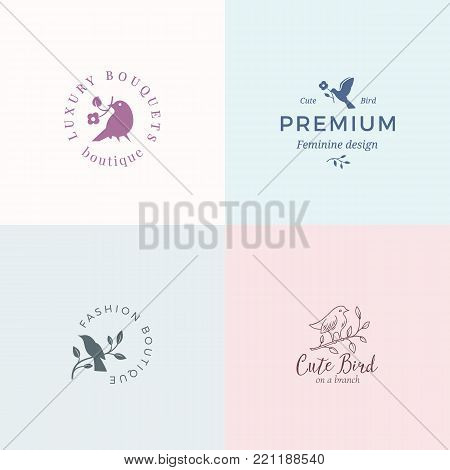 Cute Little Bird Vector Signs or Logo Templates Set. Classy Typography, Birds and Flowers. Premium Quality Feminine Emblems for Beauty Salon, SPA, Wedding Boutiques, etc. Isolated.