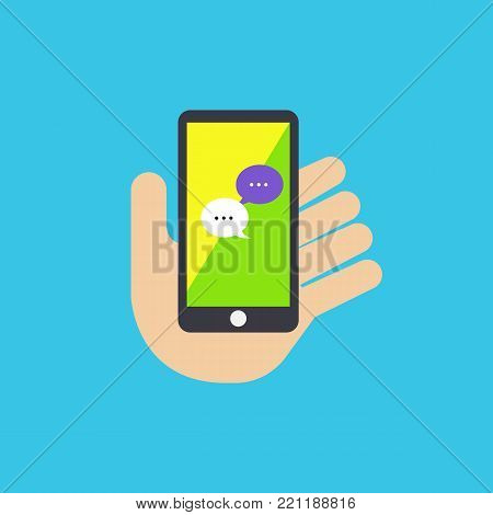 Hand holding mobile phone with message application vector illustration on blue background.Flat hand with phone.