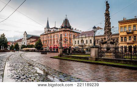 Kosice, Slovakia - July 09, 2015: Kosice main street in city center with Plague Column