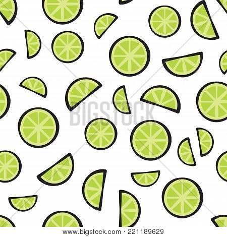 Slices fresh lime on white background pattern. Juicy lime isolated on white background pattern vector