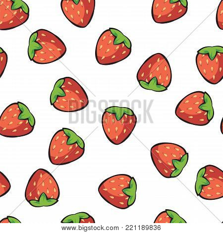 Ripe and juicy strawberries on white background pattern. Juicy strawberries isolated on white background pattern vector