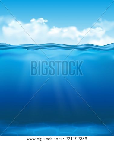 Vector realistic underwater view with clear blue water with sun rays and clouds in the sky