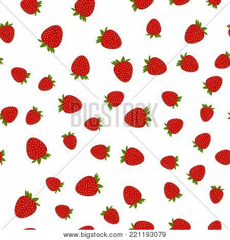 Strawberry seamless pattern, vector illustration. Strawberry on white