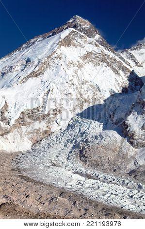 Beautiful view of mount Everest and khubbu glacier and ice fall - way to Everest base camp, Khumbu valley, Sagarmatha national park, Nepal