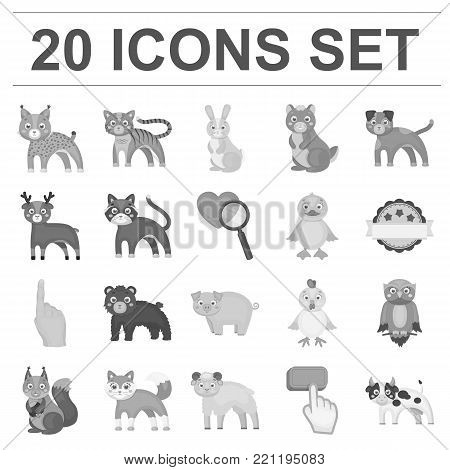 Toy animals monochrome icons in set collection for design. Bird, predator and herbivore vector symbol stock  illustration.