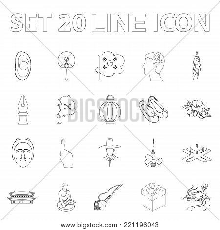 Country South Korea outline icons in set collection for design.Travel and attraction vector symbol stock  illustration.