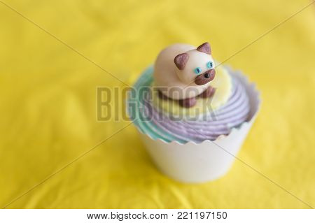 sweets, treatment, confection concept. on the yellow background of tablecloth there is marvelous cake in paper cup decorated with figure of cat that is lying on the top of whipped cream
