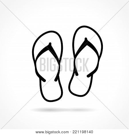 Illustration of flip flop icon on white background