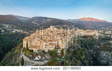 Aerial view of Tourrettes-sur-Loup - medieval mountain village in Alpes-Maritimes, France