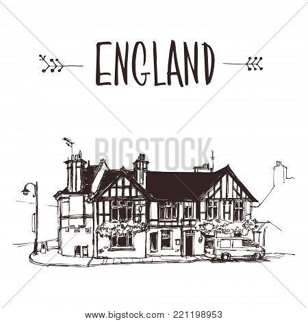 Hand drawn English house, urban sketch style vector illustration isolated on white background. Sketch style drawing of historical English house, building, townhouse