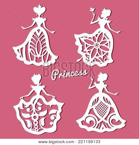 Romantic princess in lacy wedding dresses with carved pattern. Lace princess figure frame, vector illustration poster