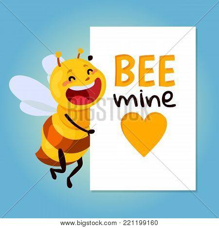 bee vector illustration. be my honey. bee mine valentine