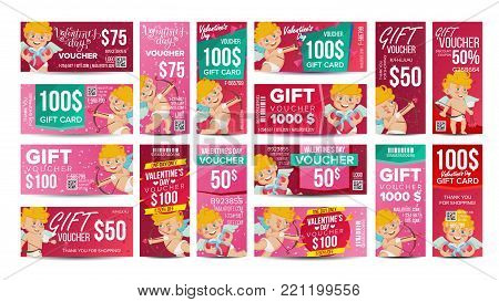 Valentine s Day Voucher Gift Design Vector. Set Horizontal Vertical Discount. Happy Valentine Cupid And And Gifts. February 14 Advertisement. Illustration