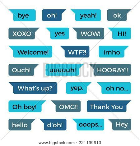Text phone chat messages vector collection with common words. Message chat and speech bubble for messaging phone illustration