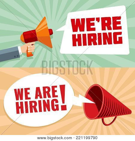 Businessman hand holding megaphone with were hiring text in bubble. Recruitment vector concept. Illustration of hiring work, hire announcement message