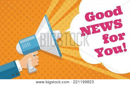 Mans hand holding megaphone with promotional text vector poster. Communication and megaphone message announce good new illustration