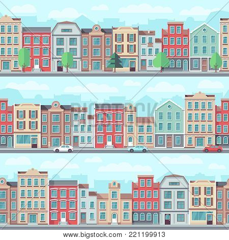 Cartoon seamless street with old apartment buildings, trees and cars vector set. House building cityscape, architecture landscape illustration