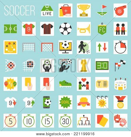 soccer flat icons, rules and elements, goal, match of the day, red card, referee, scoreboard, tournament, first aid, football field, arena, fan club, strategy, whistle, foal, stud shoes, timer