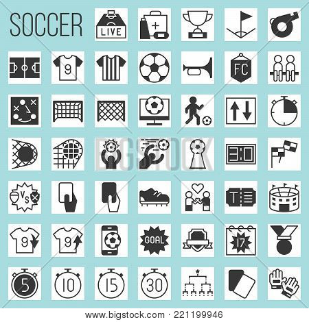 soccer silhouette icons, rules and elements such as goal, match of the day, red card, referee, scoreboard, tournament, first aid, football field, arena, fan club, strategy, whistle, foal, stud shoes, timer