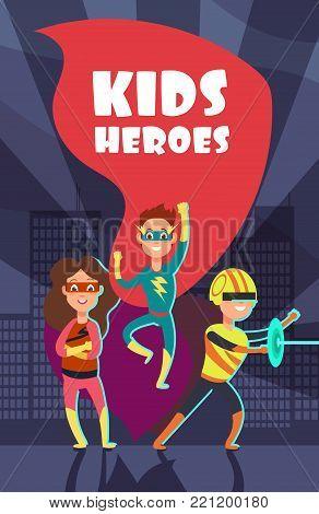 Brave superhero kids cartoon vector poster. Team of super hero, character boy and girl together illustration