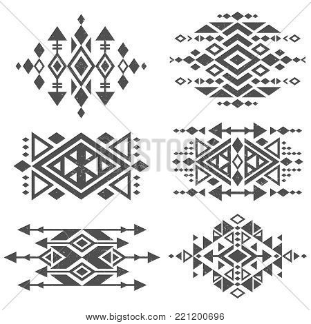 Grunge mexican aztec tribal traditional vector logo design isolated on white background. Aztec tribal traditional elements, navajo and african frame tattoo illustration