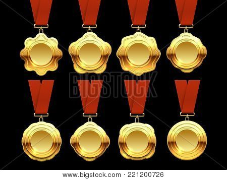 Gold medals vector collection on red ribbons. Set of golden medal for sport competition illustration