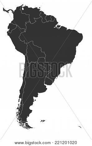 Blank political map of South America. Simple flat vector map in grey.