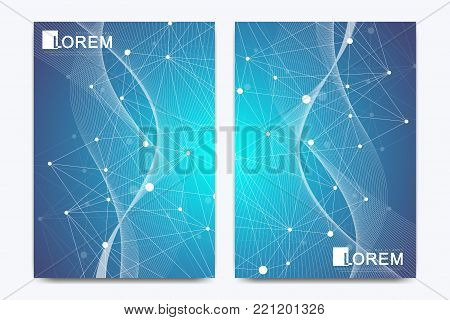 Modern vector template for brochure Leaflet flyer advert, cover, catalog, magazine or annual report. Business, science, medical design. Scientific cybernetic dots. Lines plexus. Card surface