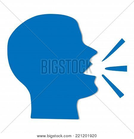 Head of man speaking, silhouette, conceptual vector