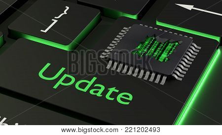 Cracked open CPU on the enter key of a black keyboard with the word update reveals green binary matrix cybersecurity concept 3D illustration