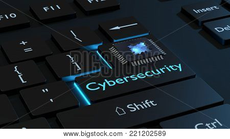 Cracked open CPU on the enter key of a black keyboard with the word cybersecurity reveals blue star system chip security concept 3D illustration