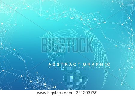Global network connection. Network and big data exchange over planet earth in space. Global business. Vector Illustration