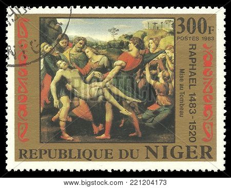 Niger - circa 1983: Stamp printed by Niger, Color edition on 500th anniversary of the birth of Raphael, shows Painting Entombment, circa 1983