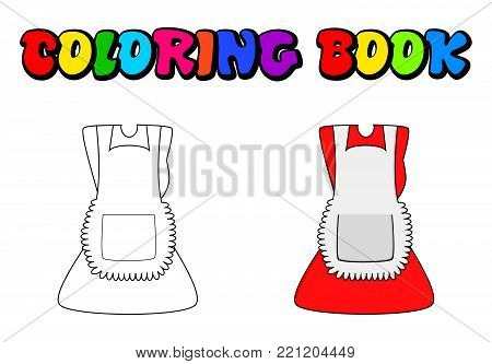 cartoon dress with pinafore coloring book, outline  isolated on white background.