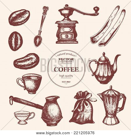 Coffee vintage collection. Coffee hand drawn elements. Background restaurant or cafe menu Vintage coffee and pastry illustration