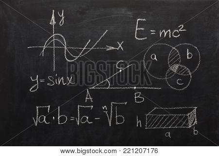 Maths formulas written with white chalk on the blackboard. Algebra and geometry equations, educational background