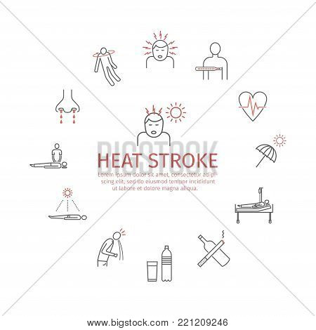 Heat stroke Symptoms. Line icons set. Vector signs for web graphics