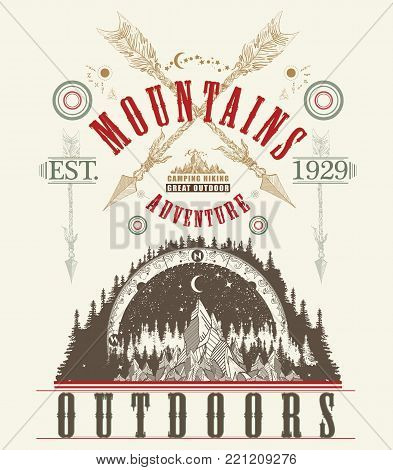 Outdoors poster.  Mountains tattoo art, t-shirt design. Mountains, symbol travel, tourism, extreme sports and rock climbing, mountains tribal style