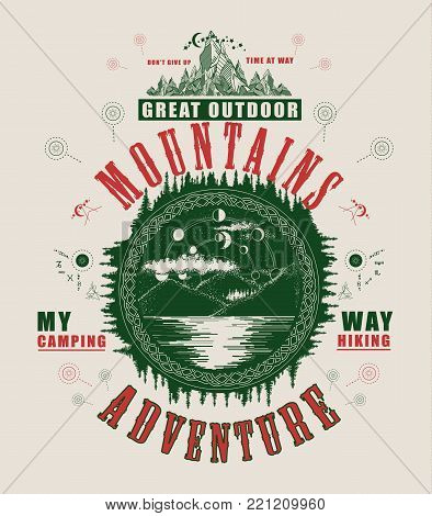 Mountain lake poster and t-shirt design. Mystical symbol of tourism, camping, travel. Lunar phases over mountain lake t-shirt design. Tourism,outdoor poster