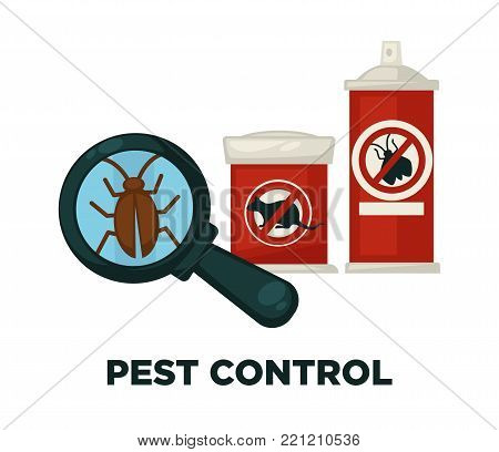 Harmful insects extermination devices and means isolated cartoon vector illustrations set on white background. Protective mask, special gas cylinder, liquid chemical substances and electric device.