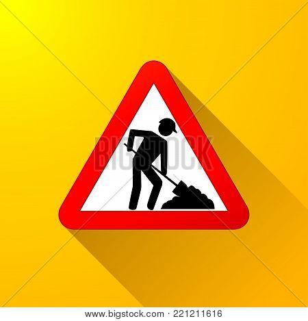 Illustration of roadwork sign on yellow background
