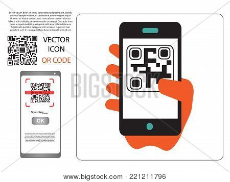 Vector Design (qr Barcode Cannot Be Scanned) Payment , Online Shopping , Cashless Technology Concept