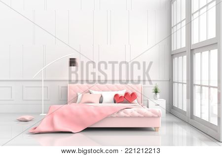 Red hearts on pink bed in bedroom of love.Decor with two hearts, tree in glass vase, wood bedside table,window,pillow,lamp, blanket,Rooms of Love on Valentine`s Day. Background and interior. 3D render