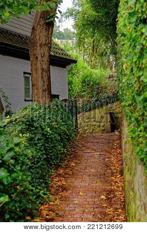 Stairs to a house in so-called Treppenviertel (lit. stairs quarter) in Hamburg Blankenese, Germany